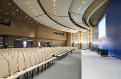 Video conference hall, wide-angle overview. Stock Photos