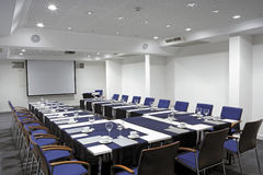Video conference hall, wide-angle overview. Royalty Free Stock Photo