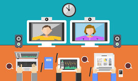 Video conference illustration. Video call. Royalty Free Stock Photo