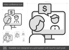 Video conference line icon. Stock Photo