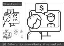 Video conference line icon. Royalty Free Stock Images