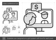 Video conference line icon. Stock Image