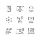 Video conference and online communication vector line icons Royalty Free Stock Images