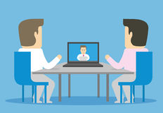 Video conference with remote employee. Two businessman communicate with third through the Internet Royalty Free Stock Image