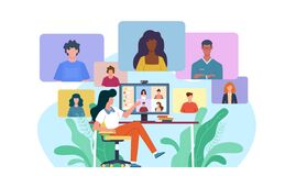 Video conference. Woman at desk provides collective virtual chat. Online business meeting working team webinar with