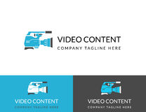 Video content busuness logo design in three colors Royalty Free Stock Images