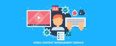 Video content management service, digital content, video editing, publication software concept. Flat design vector banner. Businessman managing videos for stock illustration
