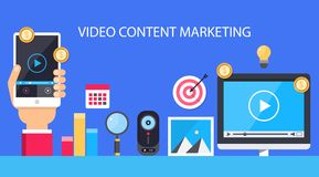 Video content marketing. Flat illustration. Video content marketing concept. Audience engagement strategy, increase online sales, hand holding mobile. Flat royalty free illustration