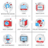 Video Content Visual Multimedia Modern Art Interactive Design Icon Set. Vector Illustration Stock Photography