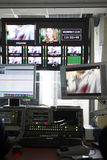 Video montage desk in TV studio Stock Photos