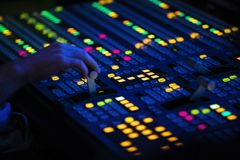 Video control switcher board close up photo stock image