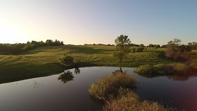 Video copter flight at sunset stock video