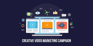 Creative video production, video marketing campaign, social media advertising concept. Flat design vector banner. Video creation and digital marketing for Vector Illustration