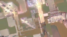 Video d'acciaio urbano geometrico del fondo di arte di concetto del movimento di incandescenza di industria dell'edilizia di tecn illustrazione di stock
