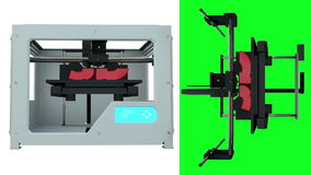 2 video in 1. 3D printing device creating a model. The whole process is speeded. green screen animation