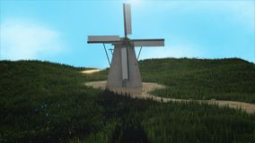 3D Windmill Landscape Rendering royalty free illustration