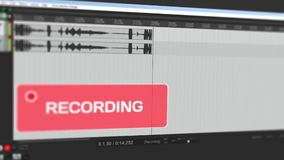 Video, das bewegliche Wellenform der Audioaufnahme auf Computer zur Stereobahn online zeigt und Benutzer mit dem Blinken warnt