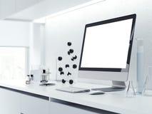 Video del calcolatore con lo schermo in bianco rappresentazione 3d Fotografie Stock