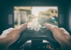 Video del gioco del gioco di gioco sulla TV o sul monitor Concetto del Gamer Fotografia Stock Libera da Diritti
