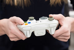Video del gioco del gioco di gioco sulla TV o sul monitor Concetto del Gamer Immagine Stock