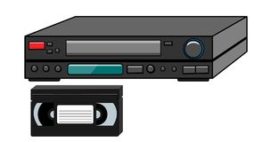Video del vintage de la antigüedad retra volumétrica vieja negra del inconformista y cinta de video para las películas de observa ilustración del vector