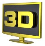 Video dell'affissione a cristalli liquidi TV dell'oro su priorità bassa bianca. Fotografie Stock