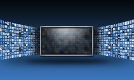 Video dello schermo piano TV con il flusso continuo delle immagini illustrazione vettoriale