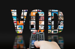 Video on demand television service. VOD video on demand television service tv hd screen video concept Stock Images