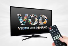 Video on demand VOD service on smart TV. Video on demand VOD internet multimedia service on smart TV royalty free stock image