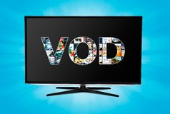 Video on demand VOD service on smart TV. Video on demand VOD internet multimedia service on smart TV royalty free stock images