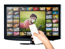 Video on demand VOD service on TV. Video on demand VOD service on TV, television concept royalty free stock photos