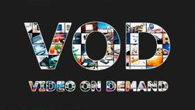 Video on demand VOD service in TV. Video on demand VOD service in Television concept stock illustration