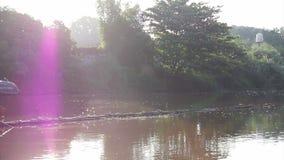 Video der Morgensonne im Fluss von Südostasien, schönes Leben in Chiangmai, Thailand stock video footage