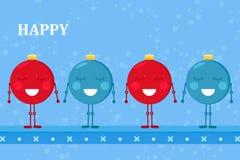 Video des netten Tanzes von vier Weihnachtsverzierungsbällen mit glücklichen Winterurlauben der Wörter stock footage