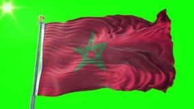 Video di ciclaggio senza cuciture della rappresentazione 3D della bandiera del Marocco Bello ondeggiamento del ciclo del tessuto  illustrazione vettoriale