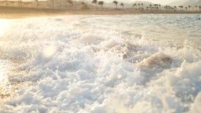 Video di movimento lento di grandi onde di oceano che si rompono sulla spiaggia sabbiosa nei raggi del sole del susnet archivi video