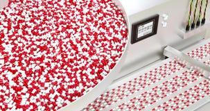 Video di riserva, il processo di produzione delle pillole, compresse, capsule bianche rosso illustrazione vettoriale
