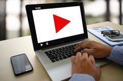 VIDEO die Audiovideo, markt Interactieve kanalen, Bedrijfsmedia Technologieinnovatie Marketing technologieconcept OP DE MARKT BRE stock afbeelding