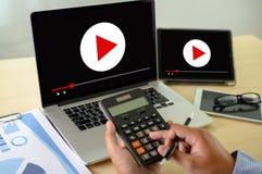 VIDEO die Audiovideo, markt Interactieve kanalen, Bedrijfsmedia Technologieinnovatie Marketing technologieconcept OP DE MARKT BRE royalty-vrije stock foto's