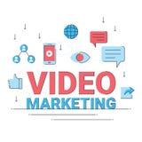 Video digital marknadsföring, kommersiell anslutning för online-affär vektor illustrationer