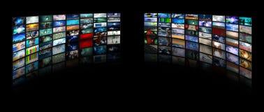 Video displays. In black space