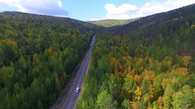 Video drone aerial view over the road in the forest on the way to Lake Baikal. Ulan-Ude stock video