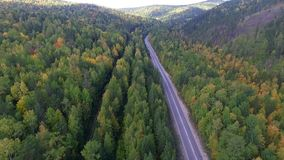 Video drone aerial view over the road in the forest on the way to Lake Baikal. Ulan-Ude stock video footage