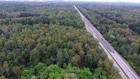 Video drone aerial view over the road in the forest on the way to north of Poland. stock video footage