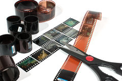 Video editing. Of negative and positive film isolated on white background royalty free stock images