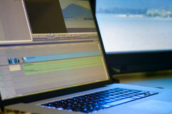 Video Editing Equipment. Non-Linear editing system with preview monitor Royalty Free Stock Image