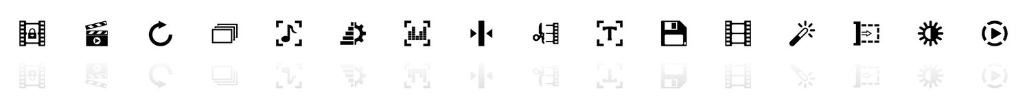 Video Editing - Flat Vector Icons. Video Editing icons - Black horizontal Illustration symbol on White Background with a mirror Shadow reflection. Flat Vector Royalty Free Stock Images