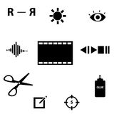 Video editing Icons Royalty Free Stock Images