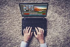 Video editing in a laptop. Stock Photos