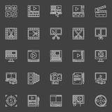 Video editing linear icons Royalty Free Stock Images